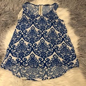 Olivia Moon White Blue Patterned Tank Top